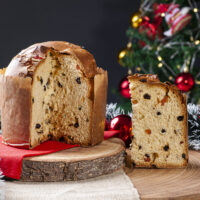 Panettone. Typical fruit cake served at Christmas. Selective focus
